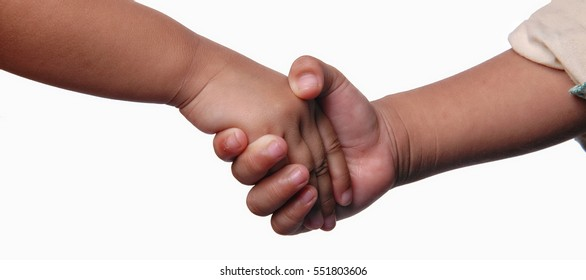 Kids shaking hand isolated on white