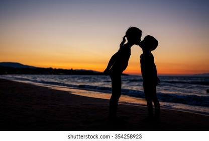 Kids Silhouettes on the Beach, Summer Love Theme