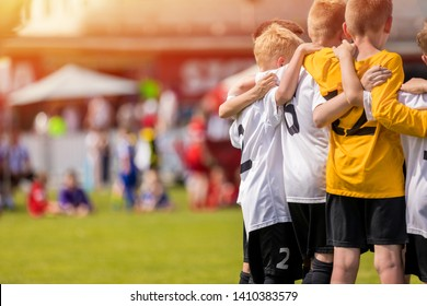Kids Sport Team Gathering. Children Play Sports. Boys in Sportswear Jersey Uniforms Having Shout Team. Youth Sports For Children. Youth Football Academy Background with Copy Space
