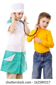 Kids with stethoscope playing in a doctor, isolated on white