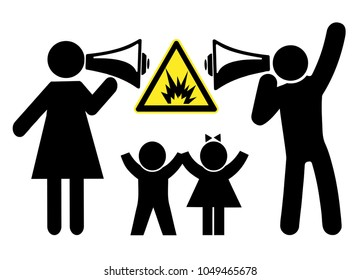 Kids suffer when parents fight. Explosive conflicts between mother and father harm the children