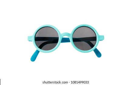Kids sunglasses. Light blue frame sunglasses isolated on white background, top view
