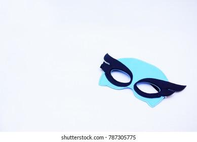 Kids Superhero Costume Mask Over White Background
