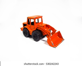 Kids Toy Tractors Toy Heavy Excavator Isolated Yellow Tractor Toy On A White