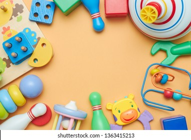 Kids toys. Background with children's toys. view from above. The space between children's toys.