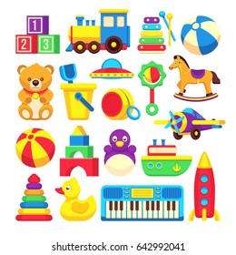 Kids toys cartoon icons collection. Colorful toys of set, illustration toy horse and duck