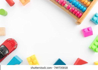 Kids toys frame on isolated white background