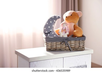 Kid's toys on a bedside table