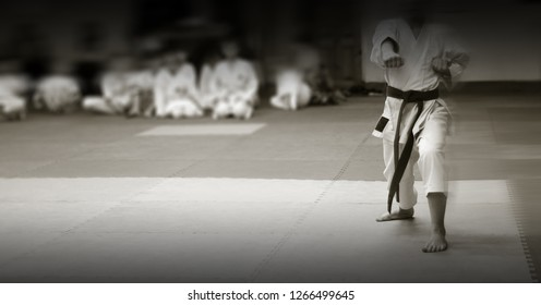 kid's training on karate-do.  A karateka girl makes a direct punch. Banner with space for text. For web pages or advertising printing. Persons are blurred beyond recognition. (fixed)