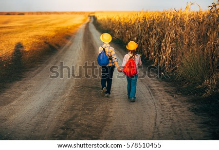 Kids Travelers Two Kids Hats Backpacks Stock Photo Edit Now