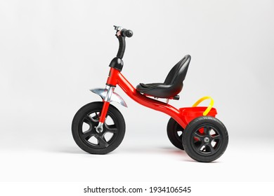kids tricycle red bike on white background