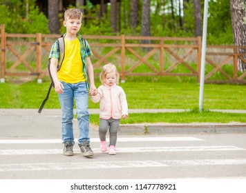 kids walking on crosswalk. Space for text