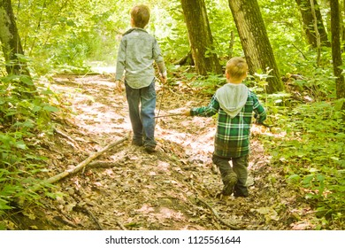 Kids Walking Through the Forest with Sticks