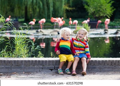 Kids watch animals and birds at the zoo. Children watching wild life at safari park. Family day feeding animal at city zoo or farm. Boy and girl exploring nature and wildlife. Summer day trip.