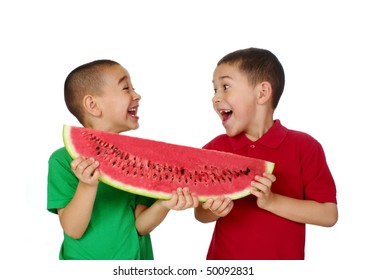 Kids and watermelon, isolated on white