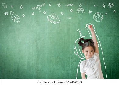 Kid's world learning inspiration in successful education with creative imagination for back to school concept and STEM science technology engineering maths with doodle on aviation on green chalkboard