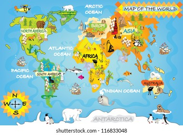 World geographical map names continents oceans vectores en stock kids world map gumiabroncs Choice Image
