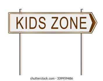 Kids zone. Road sign on the white background. Raster illustration.