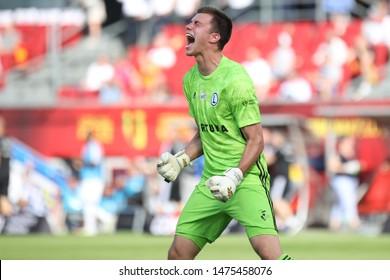 KIEKLCE, POLAND - JULY 28, 2019: Polish Premier Football League Korona Kielce - Legia Warszawa o/p Radoslaw Majecki