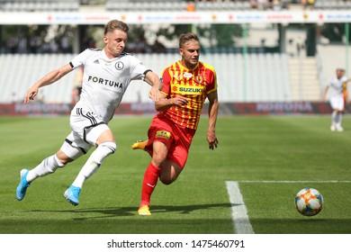 KIEKLCE, POLAND - JULY 28, 2019: Polish Premier Football League Korona Kielce - Legia Warszawa o/p Arvydas Novikovas, Daniel Dziwniel
