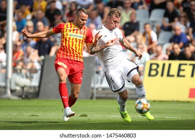 KIEKLCE, POLAND - JULY 28, 2019: Polish Premier Football League Korona Kielce - Legia Warszawa o/p Pawel Stolarski, Marcin Cebula