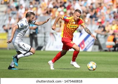 KIEKLCE, POLAND - JULY 28, 2019: Polish Premier Football League Korona Kielce - Legia Warszawa o/p Marcin Cebula, Domagoj Antolic