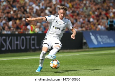 KIEKLCE, POLAND - JULY 28, 2019: Polish Premier Football League Korona Kielce - Legia Warszawa o/p Arvydas Novikovas