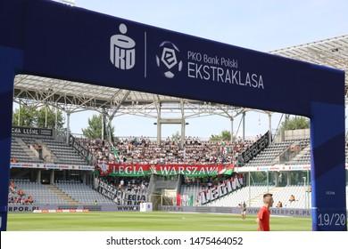 KIEKLCE, POLAND - JULY 28, 2019: Polish Premier Football League Korona Kielce - Legia Warszawa o/p logo PKO Bank Polski Ekstraklasa, Legia fans
