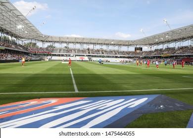 KIEKLCE, POLAND - JULY 28, 2019: Polish Premier Football League Korona Kielce - Legia Warszawa o/p stadium