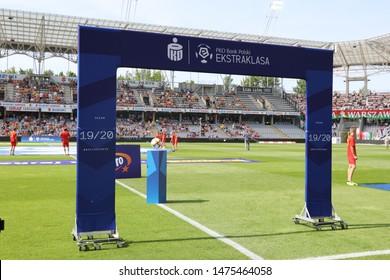 KIEKLCE, POLAND - JULY 28, 2019: Polish Premier Football League Korona Kielce - Legia Warszawa o/p logo PKO Bank Polski Ekstraklasa