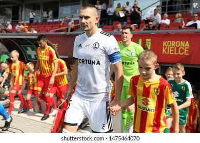 KIEKLCE, POLAND - JULY 28, 2019: Polish Premier Football League Korona Kielce - Legia Warszawa o/p Artur Jedrzejczyk