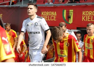 KIEKLCE, POLAND - JULY 28, 2019: Polish Premier Football League Korona Kielce - Legia Warszawa o/p Jaroslaw Niezgoda