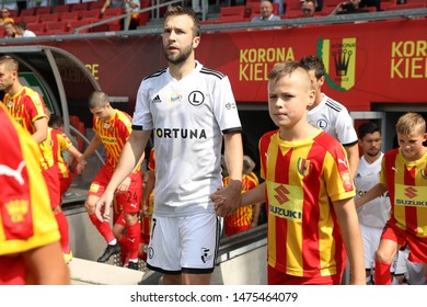 KIEKLCE, POLAND - JULY 28, 2019: Polish Premier Football League Korona Kielce - Legia Warszawa o/p Domagoj Antolic