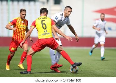 KIEKLCE, POLAND - JULY 28, 2019: Polish Premier Football League Korona Kielce - Legia Warszawa o/p Tomasz Jodlowiec, Ognjen Gnjatic