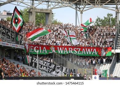KIEKLCE, POLAND - JULY 28, 2019: Polish Premier Football League Korona Kielce - Legia Warszawa o/p football fans