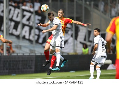 KIEKLCE, POLAND - JULY 28, 2019: Polish Premier Football League Korona Kielce - Legia Warszawa o/p Domagoj Antolic, Vato Arveladze