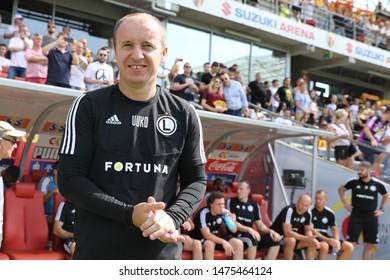 KIEKLCE, POLAND - JULY 28, 2019: Polish Premier Football League Korona Kielce - Legia Warszawa o/p Aleksandar Vukovic