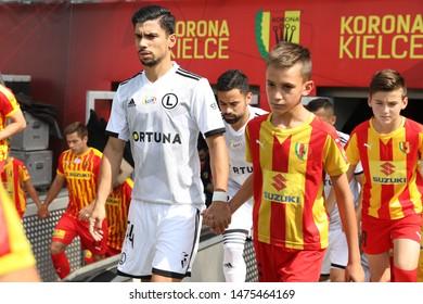 KIEKLCE, POLAND - JULY 28, 2019: Polish Premier Football League Korona Kielce - Legia Warszawa o/p Andre Martins