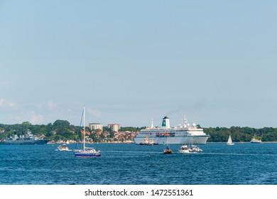 "Kiel, Germany, August 03, 2019 - The cruise ship ""Deutschland"" in the Kiel Fjord on its way to the holtenau lock"