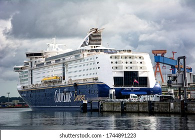 KIEL, GERMANY – August 10 2017: The car ferry Color Magic from Colorline Cruises in the port of Kiel in Germany.