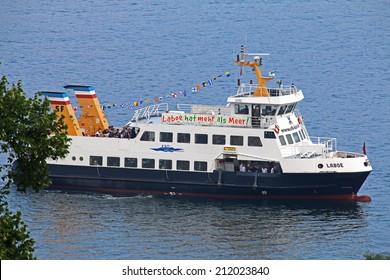 KIEL, GERMANY - JULY 27, 2014: Kiel Ferry Laboe on route