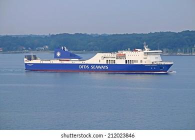 KIEL, GERMANY - JULY 27, 2014: DFDS Ferry Victoria Seaways arriving in Kiel