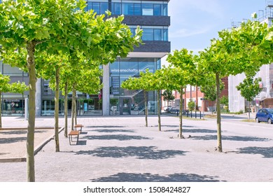 Kiel, Germany – July 27, 2019  View over the forecourt onto the glass façade of the entrance of the Wissenschaftszentrum in the Kiel Science Park in Schleswig-Holstein from the east