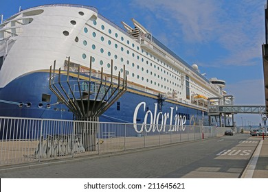 Kiel, Germany - July 28, 2014: The Ship Color Magic of Color Line is ready to be loaded at the Norway pier at the harbor in Kiel.
