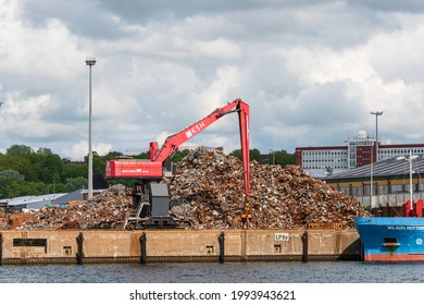 Kiel, Germany, Jun 25, 2021 The Kiel Ostuferhafen Here metals are recycled and then shipped