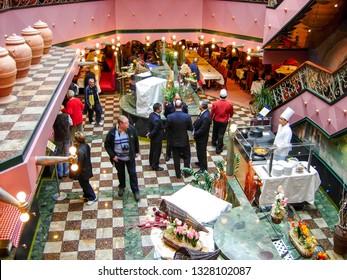 """Kiel, Germany – June 1, 2009: Buffet restaurant """"Ristorante Buffet Bellagio"""" on board the cruise ship Costa Magica of Costa Cruises."""