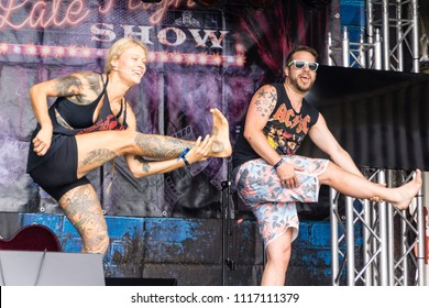 Kiel, Germany - June 16, 2018: Metal Yoga by Saskia Thode on the 2nd Stage in the Radio Bob! Rock Camp during Kiel Week 2018