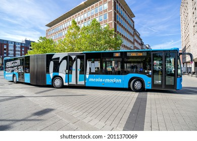 KIEL, GERMANY - JUNE 16, 2021: VKP Verkehrsbetriebe Kreis Ploen Mercedes-Benz Citaro G articulated bus