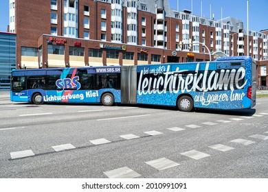 KIEL, GERMANY - JUNE 17, 2021: VKP Verkehrsbetriebe Kreis Ploen Mercedes-Benz Citaro G articulated bus