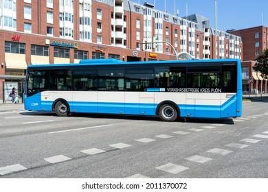 KIEL, GERMANY - JUNE 17, 2021: VKP Verkehrsbetriebe Kreis Ploen Iveco Crossway bus